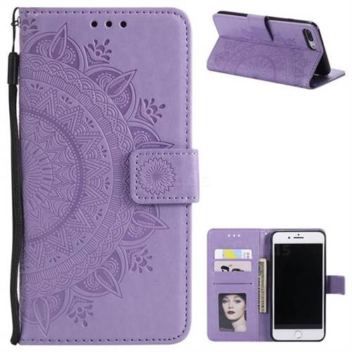 Intricate Embossing Datura Leather Wallet Case for iPhone 8 Plus / 7 Plus 7P(5.5 inch) - Purple