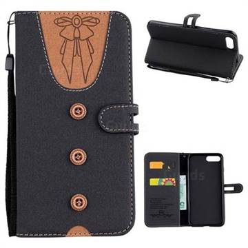 Ladies Bow Clothes Pattern Leather Wallet Phone Case for iPhone 8 Plus / 7 Plus 7P(5.5 inch) - Black
