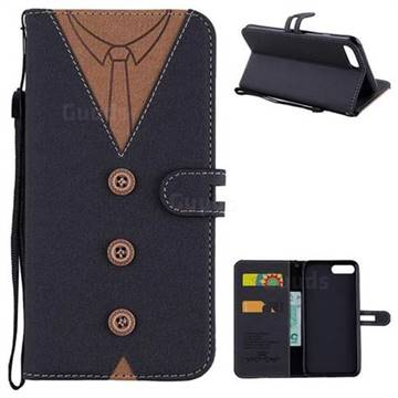 Mens Button Clothing Style Leather Wallet Phone Case for iPhone 8 Plus / 7 Plus 7P(5.5 inch) - Black