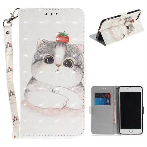 Cute Tomato Cat 3D Painted Leather Wallet Phone Case for iPhone 8 Plus / 7 Plus 7P(5.5 inch)