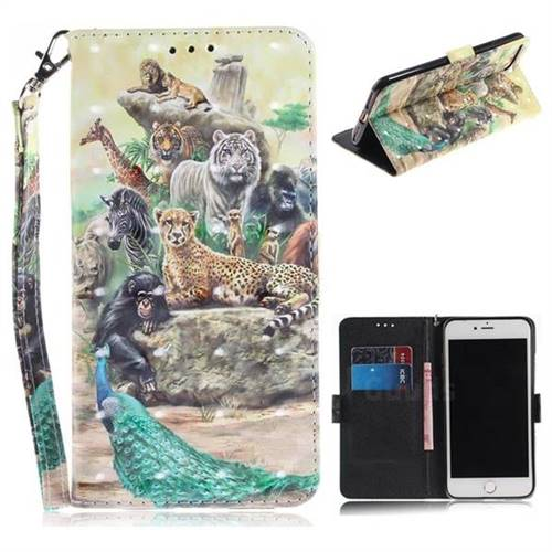 Beast Zoo 3D Painted Leather Wallet Phone Case for iPhone 8 Plus / 7 Plus 7P(5.5 inch)