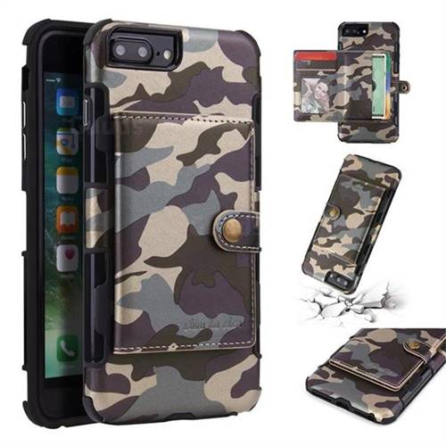 Camouflage Multi-function Leather Phone Case for iPhone 8 Plus / 7 Plus 7P(5.5 inch) - Gray