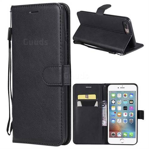 Retro Greek Classic Smooth PU Leather Wallet Phone Case for iPhone 8 Plus / 7 Plus 7P(5.5 inch) - Black