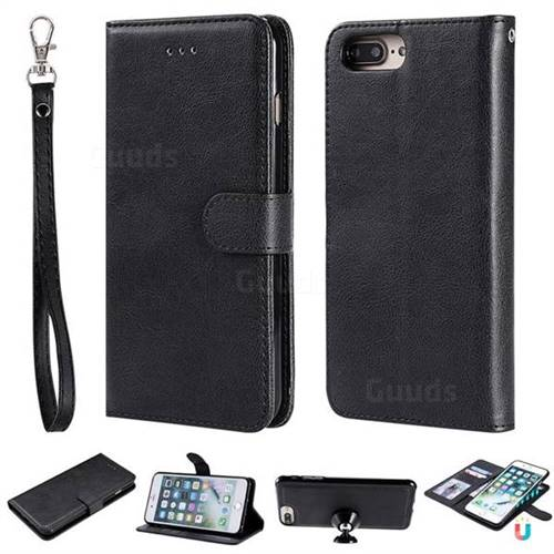 Retro Greek Detachable Magnetic PU Leather Wallet Phone Case for iPhone 8 Plus / 7 Plus 7P(5.5 inch) - Black