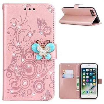 Embossing Butterfly Circle Rhinestone Leather Wallet Case For Iphone 8 Plus 7 Plus 7p55 Inch Rose Gold