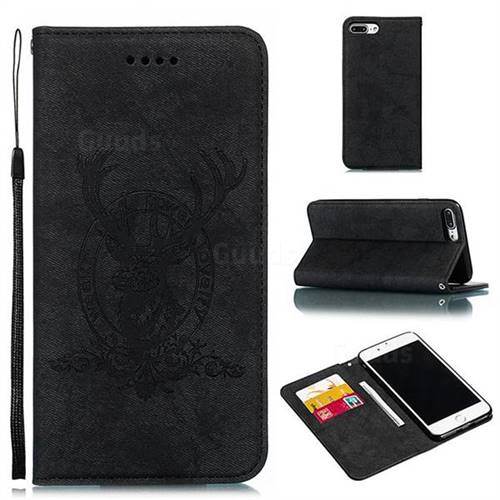 Retro Intricate Embossing Elk Seal Leather Wallet Case for iPhone 8 Plus / 7 Plus 7P(5.5 inch) - Black