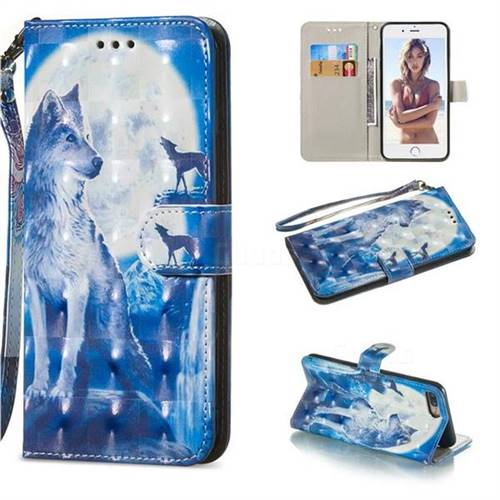 Ice Wolf 3D Painted Leather Wallet Phone Case for iPhone 8 Plus / 7 Plus 7P(5.5 inch)