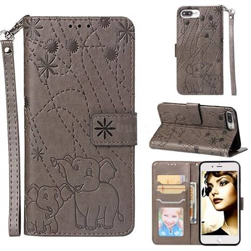 Embossing Fireworks Elephant Leather Wallet Case for iPhone 8 Plus / 7 Plus 7P(5.5 inch) - Gray
