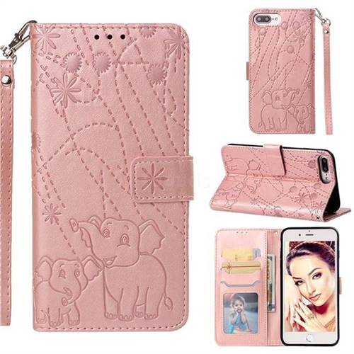 Embossing Fireworks Elephant Leather Wallet Case for iPhone 8 Plus / 7 Plus 7P(5.5 inch) - Rose Gold