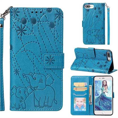 Embossing Fireworks Elephant Leather Wallet Case for iPhone 8 Plus / 7 Plus 7P(5.5 inch) - Blue