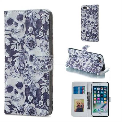 online store 1620a fdb9b Skull Flower 3D Painted Leather Phone Wallet Case for iPhone 8 Plus / 7  Plus 7P(5.5 inch)