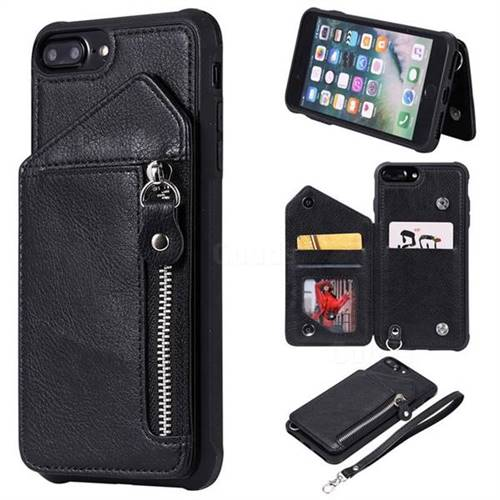 Classic Luxury Buckle Zipper Anti-fall Leather Phone Back Cover for iPhone 8 Plus / 7 Plus 7P(5.5 inch) - Black