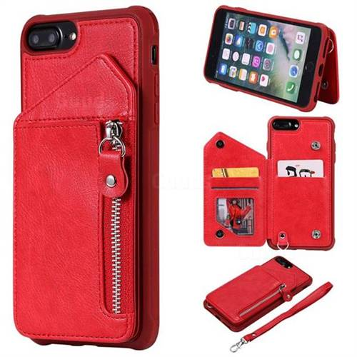 Classic Luxury Buckle Zipper Anti-fall Leather Phone Back Cover for iPhone 8 Plus / 7 Plus 7P(5.5 inch) - Red