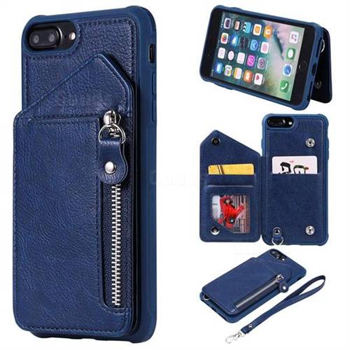 Classic Luxury Buckle Zipper Anti-fall Leather Phone Back Cover for iPhone 8 Plus / 7 Plus 7P(5.5 inch) - Blue