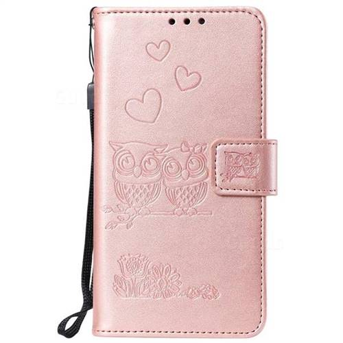 Embossing Owl Couple Flower Leather Wallet Case For Iphone 8 Plus 7 Plus 7p55 Inch Rose Gold