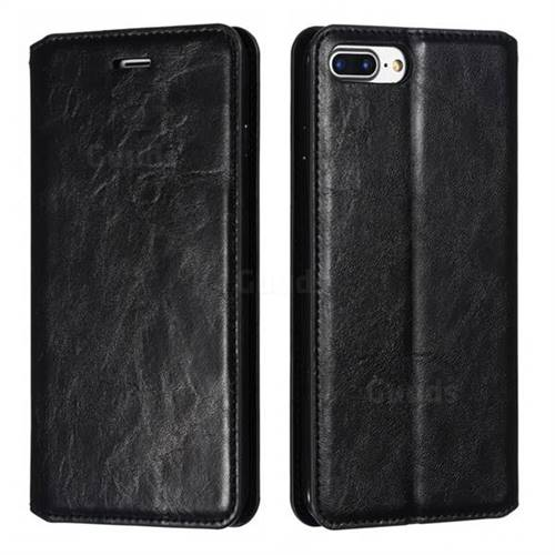 Retro Slim Magnetic Crazy Horse PU Leather Wallet Case for iPhone 8 Plus / 7 Plus 7P(5.5 inch) - Black