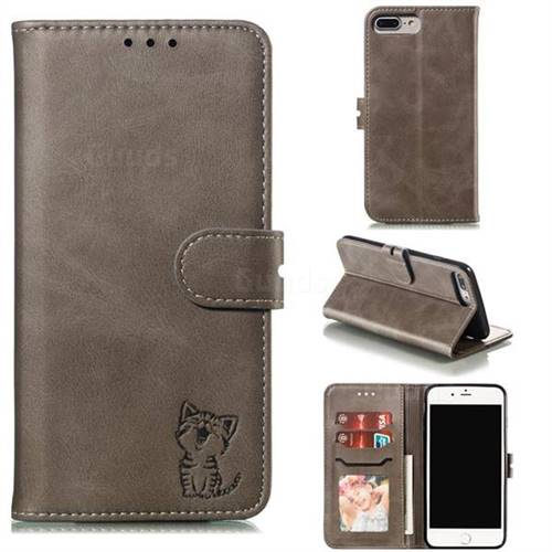 Embossing Happy Cat Leather Wallet Case for iPhone 8 Plus / 7 Plus 7P(5.5 inch) - Gray