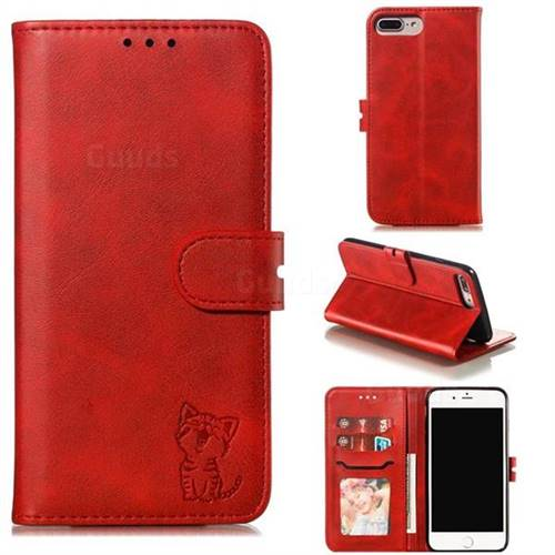 Embossing Happy Cat Leather Wallet Case for iPhone 8 Plus / 7 Plus 7P(5.5 inch) - Red