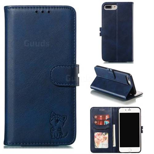 Embossing Happy Cat Leather Wallet Case for iPhone 8 Plus / 7 Plus 7P(5.5 inch) - Blue