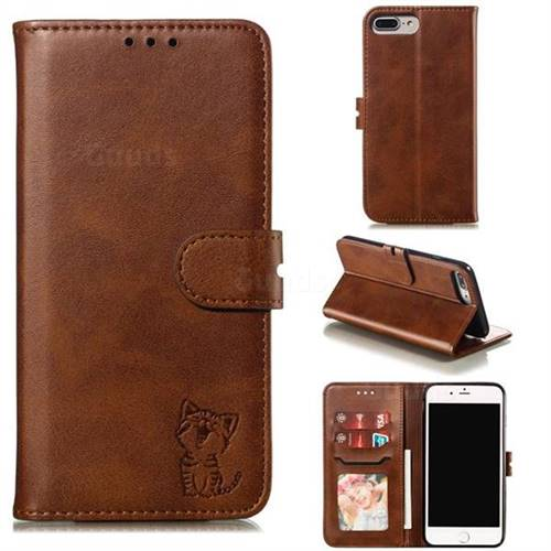 Embossing Happy Cat Leather Wallet Case for iPhone 8 Plus / 7 Plus 7P(5.5 inch) - Brown