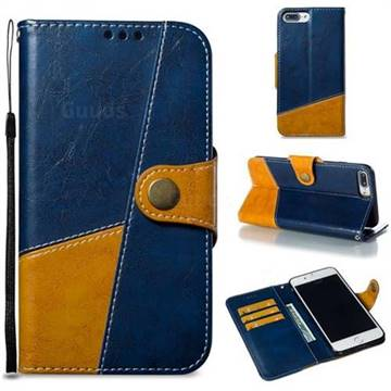 Retro Magnetic Stitching Wallet Flip Cover for iPhone 8 Plus / 7 Plus 7P(5.5 inch) - Blue