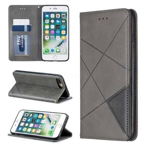 Prismatic Slim Magnetic Sucking Stitching Wallet Flip Cover for iPhone 8 Plus / 7 Plus 7P(5.5 inch) - Gray