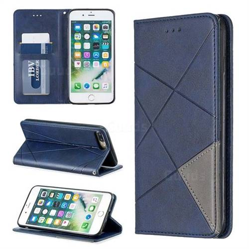 Prismatic Slim Magnetic Sucking Stitching Wallet Flip Cover for iPhone 8 Plus / 7 Plus 7P(5.5 inch) - Blue