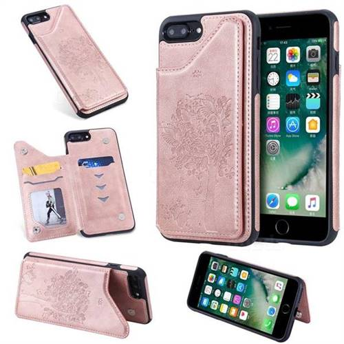 Luxury Tree and Cat Multifunction Magnetic Card Slots Stand Leather Phone Back Cover for iPhone 8 Plus / 7 Plus 7P(5.5 inch) - Rose Gold