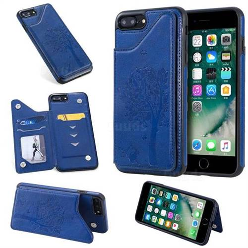 Luxury Tree and Cat Multifunction Magnetic Card Slots Stand Leather Phone Back Cover for iPhone 8 Plus / 7 Plus 7P(5.5 inch) - Blue