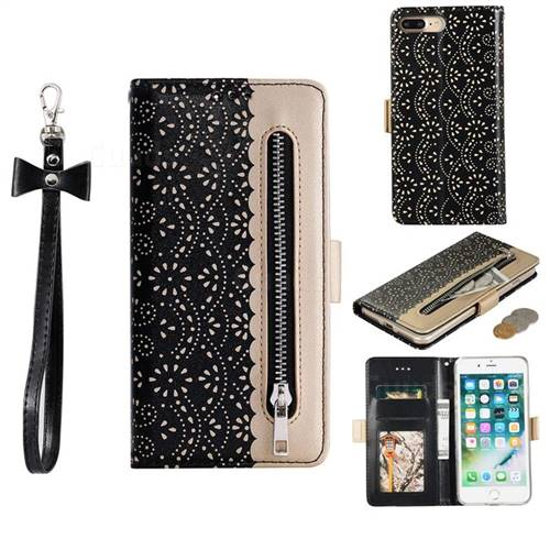 Luxury Lace Zipper Stitching Leather Phone Wallet Case for iPhone 8 Plus / 7 Plus 7P(5.5 inch) - Black