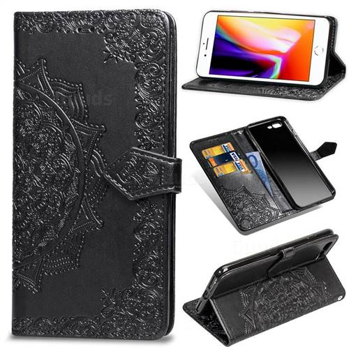 Embossing Imprint Mandala Flower Leather Wallet Case for iPhone 8 Plus / 7 Plus 7P(5.5 inch) - Black