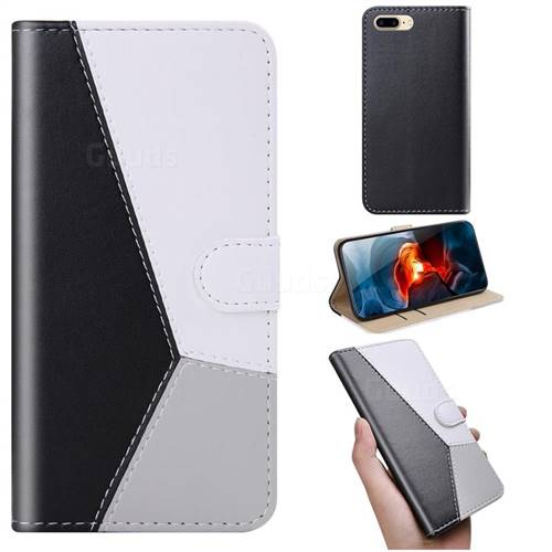 Tricolour Stitching Wallet Flip Cover for iPhone 8 Plus / 7 Plus 7P(5.5 inch) - Black