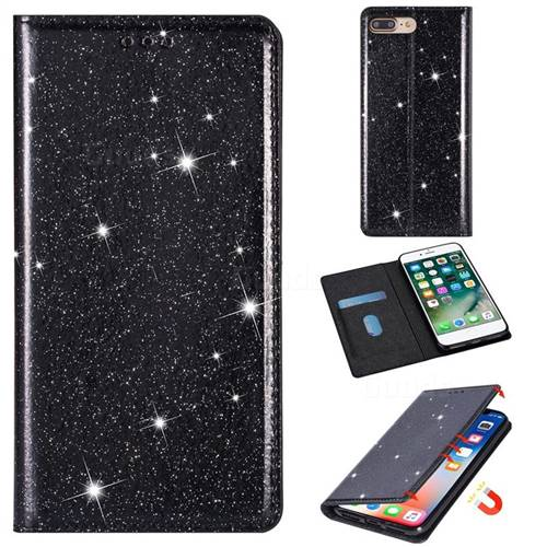 Ultra Slim Glitter Powder Magnetic Automatic Suction Leather Wallet Case for iPhone 8 Plus / 7 Plus 7P(5.5 inch) - Black