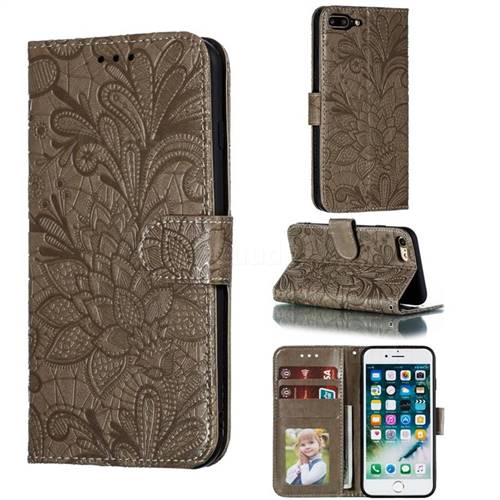 Intricate Embossing Lace Jasmine Flower Leather Wallet Case for iPhone 8 Plus / 7 Plus 7P(5.5 inch) - Gray