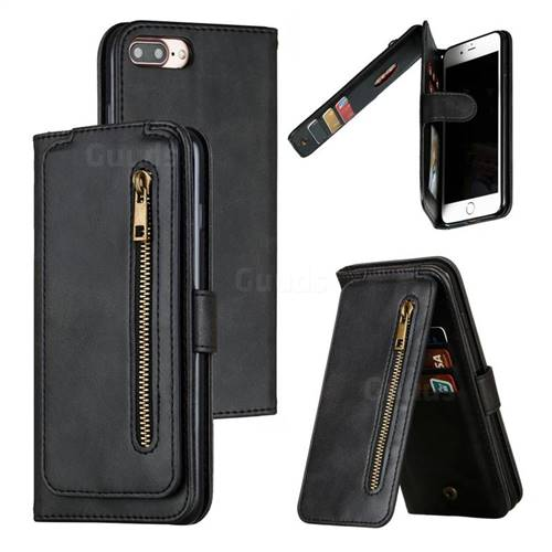 Multifunction 9 Cards Leather Zipper Wallet Phone Case for iPhone 8 Plus / 7 Plus 7P(5.5 inch) - Black