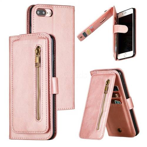 Multifunction 9 Cards Leather Zipper Wallet Phone Case for iPhone 8 Plus / 7 Plus 7P(5.5 inch) - Rose Gold