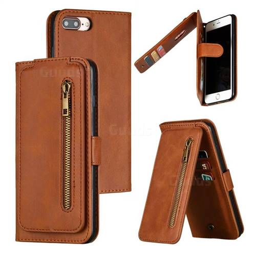 Multifunction 9 Cards Leather Zipper Wallet Phone Case for iPhone 8 Plus / 7 Plus 7P(5.5 inch) - Brown