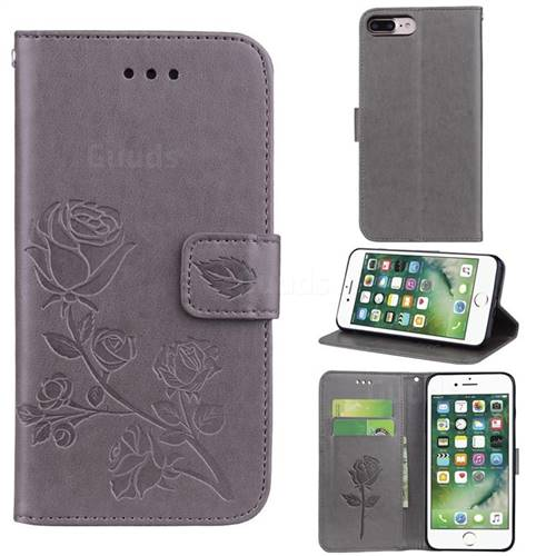 Embossing Rose Flower Leather Wallet Case for iPhone 8 Plus / 7 Plus 7P(5.5 inch) - Grey