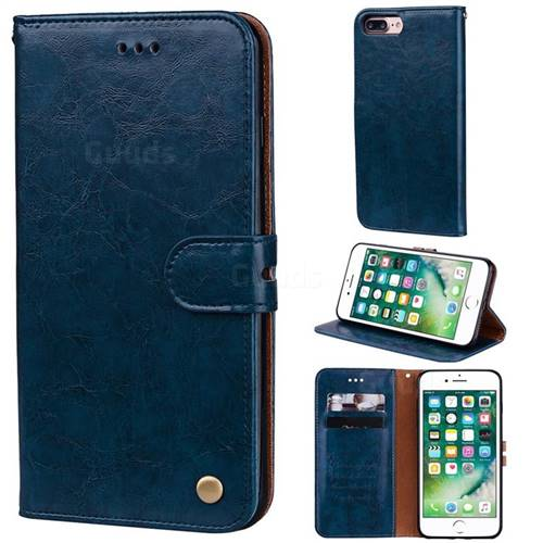 Luxury Retro Oil Wax PU Leather Wallet Phone Case for iPhone 8 Plus / 7 Plus 7P(5.5 inch) - Sapphire