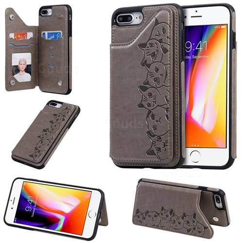 Yikatu Luxury Cute Cats Multifunction Magnetic Card Slots Stand Leather Back Cover for iPhone 8 Plus / 7 Plus 7P(5.5 inch) - Gray