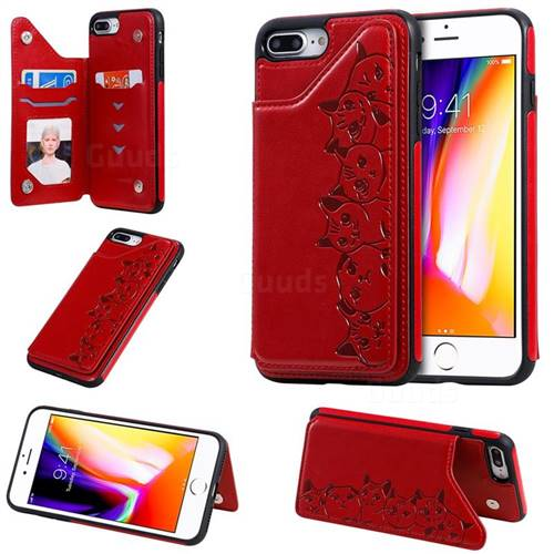 Yikatu Luxury Cute Cats Multifunction Magnetic Card Slots Stand Leather Back Cover for iPhone 8 Plus / 7 Plus 7P(5.5 inch) - Red