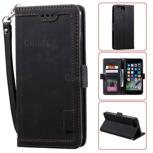 Luxury Retro Stitching Leather Wallet Phone Case for iPhone 8 Plus / 7 Plus 7P(5.5 inch) - Black