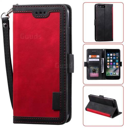 Luxury Retro Stitching Leather Wallet Phone Case for iPhone 8 Plus / 7 Plus 7P(5.5 inch) - Deep Red