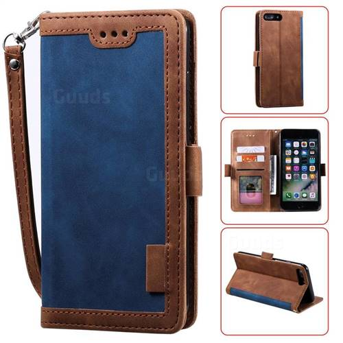 Luxury Retro Stitching Leather Wallet Phone Case for iPhone 8 Plus / 7 Plus 7P(5.5 inch) - Dark Blue