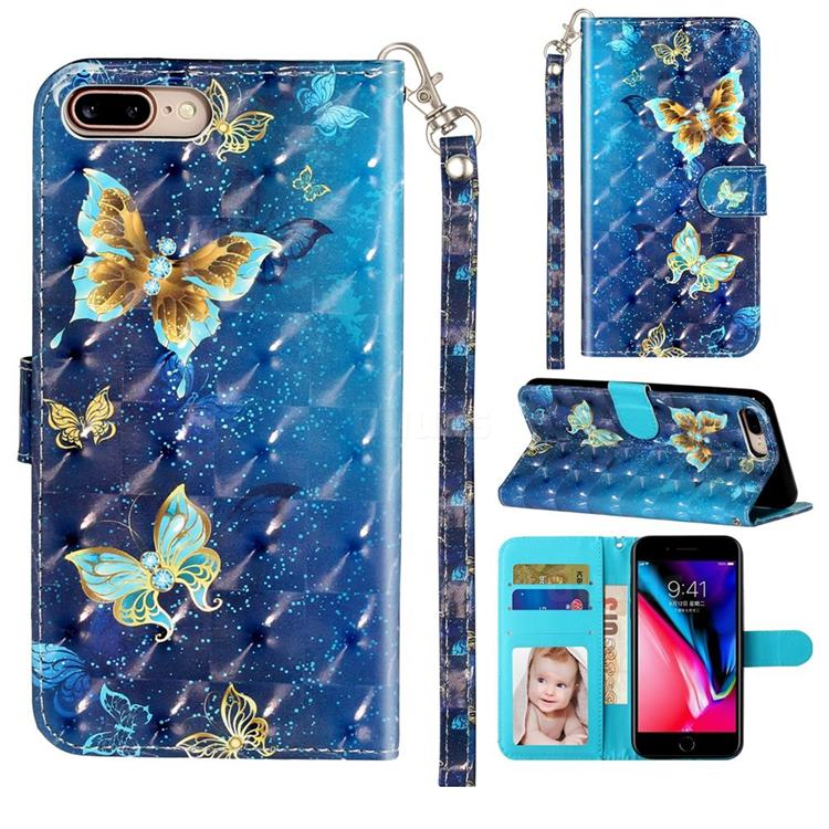 Rankine Butterfly 3D Leather Phone Holster Wallet Case for iPhone 8 Plus / 7 Plus 7P(5.5 inch)