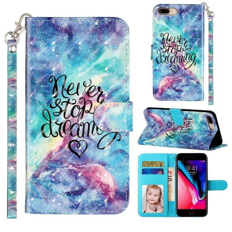 Blue Starry Sky 3D Leather Phone Holster Wallet Case for iPhone 8 Plus / 7 Plus 7P(5.5 inch)