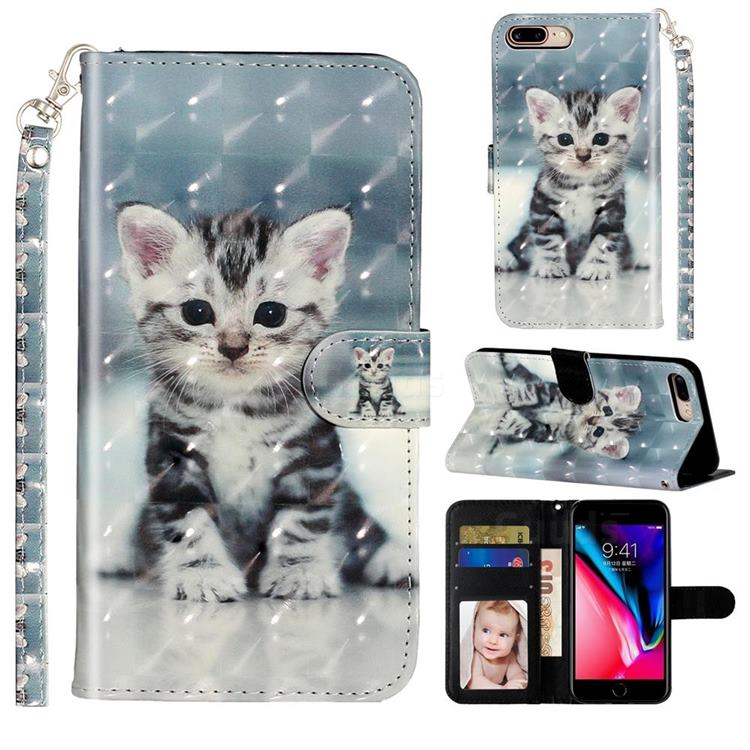 Kitten Cat 3D Leather Phone Holster Wallet Case for iPhone 8 Plus / 7 Plus 7P(5.5 inch)