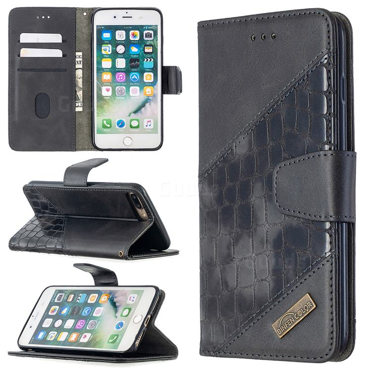 BinfenColor BF04 Color Block Stitching Crocodile Leather Case Cover for iPhone 8 Plus / 7 Plus 7P(5.5 inch) - Black