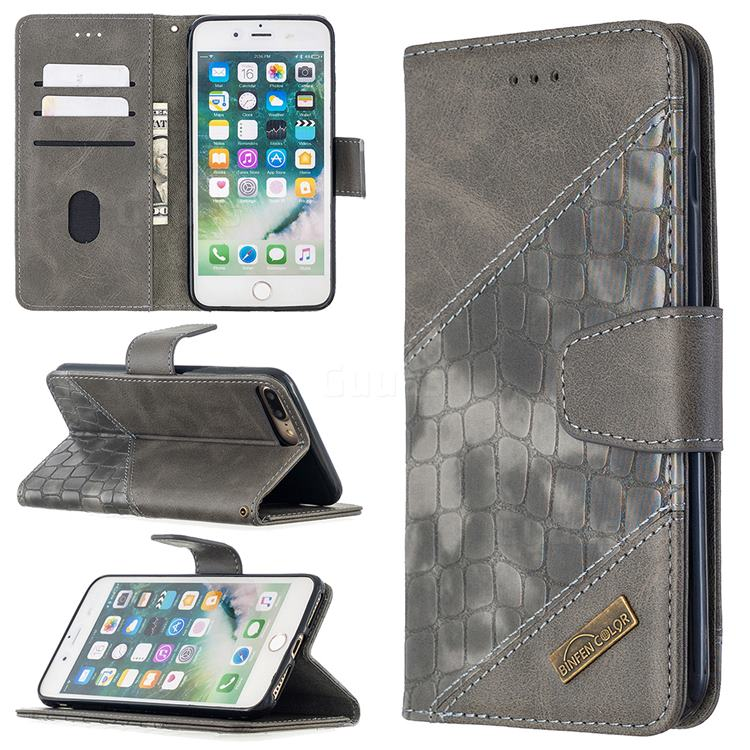 BinfenColor BF04 Color Block Stitching Crocodile Leather Case Cover for iPhone 8 Plus / 7 Plus 7P(5.5 inch) - Gray