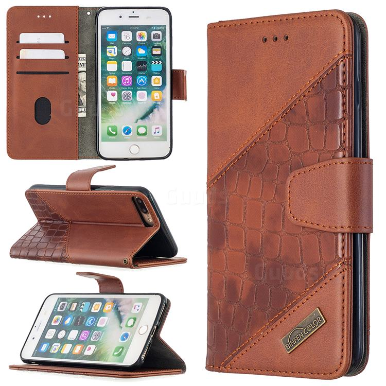 BinfenColor BF04 Color Block Stitching Crocodile Leather Case Cover for iPhone 8 Plus / 7 Plus 7P(5.5 inch) - Brown